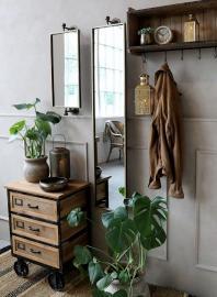 Spegel för vägg H144 / L27 / W13 cm antik mässing , hemmetshjarta.se