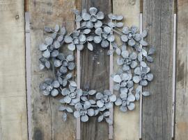 Krans med blommor Ø35 cm antik zink , hemmetshjarta.se