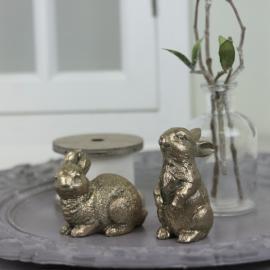 Kaniner stående & sittande - antikguld 2-pack , hemmetshjarta.se
