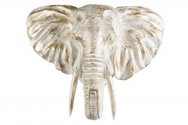 Elefanthuvud/Vägg 56 cm - vit/guld , hemmetshjarta.se