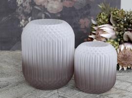 Vecka 41 Vas med rutmönster mattad H25 / Ø18 cm taupe , hemmetshjarta.se