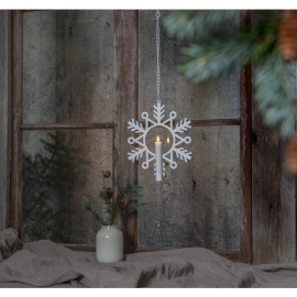 Batteridriven hängande ljusstake Flamme Snow , hemmetshjarta.se