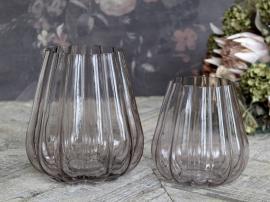 Vecka 41 Vas med spår H15 / Ø14 cm taupe , hemmetshjarta.se