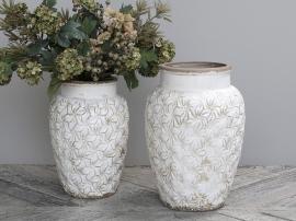 Colmar vas med blommor Keramik H36,5 / Ø24,5 cm antik creme 1 st , hemmetshjarta.se