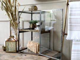 Display i glas med avtagbart bricka H41 / L25 / W25 cm antik mässing , hemmetshjarta.se