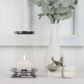 Ljuslykta med glas Lyx silver 17 cm , hemmetshjarta.se