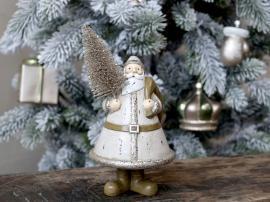 Jultomten med julgran Poly H20 / L12,5 / W9 cm latte , hemmetshjarta.se