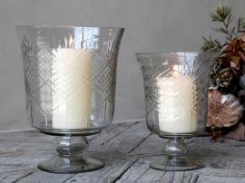 Skål/lykta på fot med slipning Glas H20.5 / Ø15 cm klar 1 st , hemmetshjarta.se