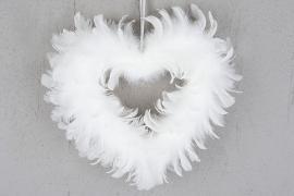 Hjärta Fjäder Vit 28cm , hemmetshjarta.se