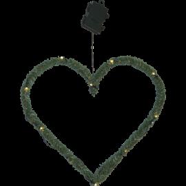 Konstgjord Krans Line Heart Batteridriven Utomhus Varmvit 10 ljus 38cm , hemmetshjarta.se