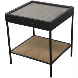 Soffbord med förvaringsutrymme H62 / L51 / B54,5 cm antik svart , hemmetshjarta.se