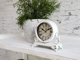 Bordsklocka med dekor H16 / L18 / W9 cm antik grädde , hemmetshjarta.se