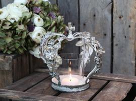 Krona ljusstake med rosor H22 / Ø18 cm antik creme , hemmetshjarta.se