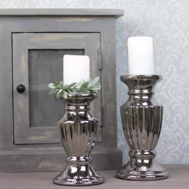 Ljusstake Blockljus Lyx 20 cm - silver , hemmetshjarta.se