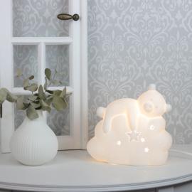 .Lampa porslin Björn 19,2 cm - vit , hemmetshjarta.se