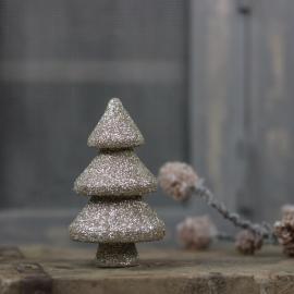 Julgran med glitter 9,5 cm champagne , hemmetshjarta.se