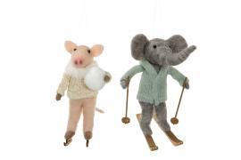 Vecka 39 Ulldjur Elefant/Gris Mix 13cm 2-pack , hemmetshjarta.se
