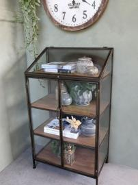 Skåp i glas med 4 trähyllor H115 / L66 / B40 cm antik mässing , hemmetshjarta.se