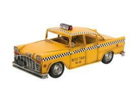 Dekoration Taxibil Gul Metall 28x11x12,5cm , hemmetshjarta.se