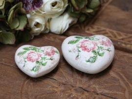 Toulouse hjärta med rosor H3,5 / L7,5 / W7,5 cm fuchsia ros 1st , hemmetshjarta.se