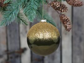Julkula med guld pärl topp Glas Ø10 cm mossa 4-pack , hemmetshjarta.se