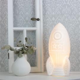 .Lampa porslin Rymdskepp 31,5 cm - vit , hemmetshjarta.se