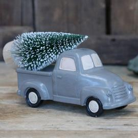 Bil med julgran grå 8,5x14,5 cm , hemmetshjarta.se