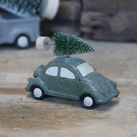 Bil med julgran grön/glitter 6,5x10,5 cm , hemmetshjarta.se