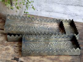 Fat med mönster och dekor kant H5 / L40 / B17,5 cm antik mässing 3-pack , hemmetshjarta.se