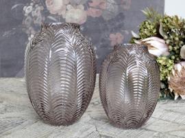 Vecka 41 Vas med bladmönster H18 / Ø14 cm taupe , hemmetshjarta.se