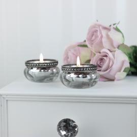 Värmeljushållare med pärlkant H3,5 / Ø6 cm antik silver , hemmetshjarta.se