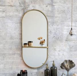 Spegel med hylla H78 / L35.5 / B10 cm antik mässing , hemmetshjarta.se