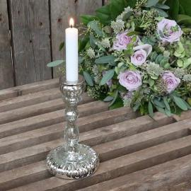 Ljusstake med slipning för kronljus H18 / Ø10 cm antik silver , hemmetshjarta.se