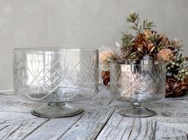 Skål på fot med slipning Glas H15 / Ø16 cm klar 1 st , hemmetshjarta.se