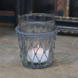 Gl. fransk Glas med fil de fer hållare H9/Ø8 cm antique zink , hemmetshjarta.se