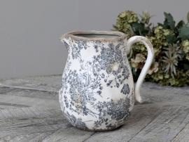 Melun kanna med franskt mönster Keramik H20 / L20 / B16,5 cm opal , hemmetshjarta.se