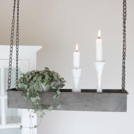 Hängande hylla med kant - antikgrå , hemmetshjarta.se