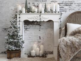 Vecka 46 Fransk öppen spis för dekoration H95 / L99 / W17 cm antikt vit , hemmetshjarta.se