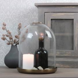 Glasklocka med mässingsfat H26,5 / Ø21,5 cm , hemmetshjarta.se
