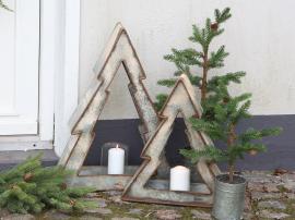Julgran med ljusstake Järn H43 / L38 / B10 cm antikt zink 1 st , hemmetshjarta.se