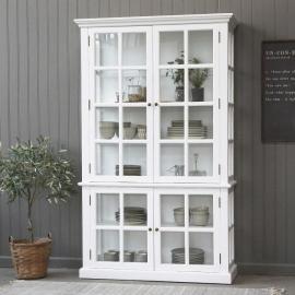 Vecka 26 Vitrinskåp med 4 dörrar / hyllor H196 / L120 / B40 cm vit , hemmetshjarta.se