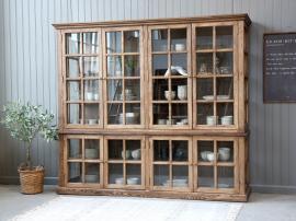 Vecka 26 Vitrinskåp med 8 dörrar / hyllor H195 / L220 / B 55 cm natur , hemmetshjarta.se