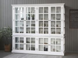 Vecka 34 Vitrinskåp med 8 dörrar / hyllor H195 / L220 / B55 cm vit , hemmetshjarta.se