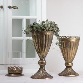 Kruka hög med spetskant 27 cm - guldbrun , hemmetshjarta.se