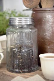 .Glaskruka med metallock - Tea , hemmetshjarta.se