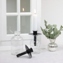 Kronljushållare flaska - svart , hemmetshjarta.se