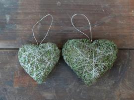 Fleur Moss hjärta med upphängning H12 / L13 / B4,5 cm grön 1 st , hemmetshjarta.se
