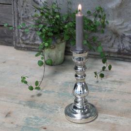 Ljusstake med slipningar H23 / Ø10 cm antik silver , hemmetshjarta.se