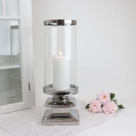 Ljuslykta med glass Lyx silver 44 cm , hemmetshjarta.se