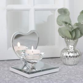 Ljuslykta Kristall på spegelfat Hjärta , hemmetshjarta.se